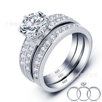 Venta al por mayor Moda 925 joyas de plata esterlina gran CZ diamante piedra preciosa anillos fija anillo de banda de boda para las mujeres 3-en-1