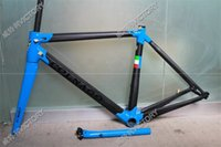 Wholesale 2017 Newest Black Blue C60 carbon road frame size cm Cheap carbon bike frame K weave BB386 BB30 or BB68 adapter