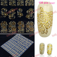 Wholesale 8 kind D printing nail stickers with back gum easy process long keep page