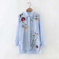 Wholesale 2017 Fashion denim women jacket Cotton shirt tops long sleeves blue vintage boho hippie chic irregular embroidery jacket women clothing