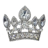 Wholesale Bride Imperial Crown Wedding Pendant Clear Rhinestone Crystal Brooch Pin