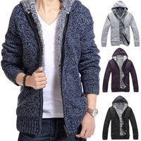 american lager - New winter men s hooded cardigan sweater plus thick villi coat jacket men men s fashion Slim lager size Sweater coat men A751