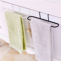Wholesale Multifuction Iron Rail Oval Towels Shelf for Kitchen or Bathroom Cabinet Door Towels Organizer Hanging Rack