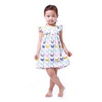 al por mayor modelos de vestido de fiesta de niña-Vestido Niñas vestido de verano de pollo patrón bebé ropa vestido Vestido Niño 5T Girls Party Dress
