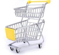 appliance wheels - 2017 Hot Sale Double Layer Shopping Cart Toy Alloy Stainless Material Wheels Mini Supermarket Trolley Colors Available Phone Holder