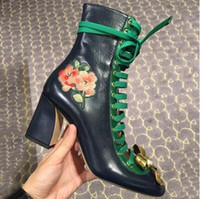 Wholesale 2017 European pearl BOW STRAP boots leather embroidery lace flower thick with Martin boots