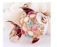 Wholesale New D Design Hollow Colorful opal Fish Crystals KeyChain Rhinestone Key Chain Gift