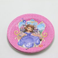 Wholesale Sofia Princess Baby Shower Happy Birthday Party Cartoon Dishes Kids Favors Paper Plates Decoration Supplies Tableware