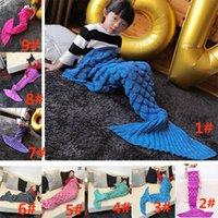 Wholesale Children Sofa Mermaid Tail Blanket cm Winter Warm Kids Soft Knitted Crochet Covered Sleeping Bag Carpet Swaddling Gifts PX B08