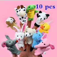 Wholesale 10 Baby Plush Toy Finger Puppets Tell Story Props Animal Doll Kids Toys Children Gift Animal Group
