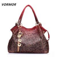 Wholesale VORMOR Hollow Out Large Leather Tote Bag Luxury Women Shoulder bags Fashion Women Bag Brand Handbag