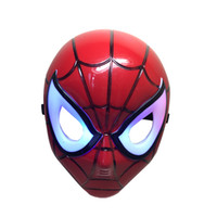 Wholesale Super Hero Spider Man Led Light Up Mask Masquerade Party Halloween Christmas Costume Cosplay Collect Toy Kids Children