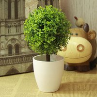 Flower artificial topiary outdoor - Artificial Topiary Tree Potted Ball Plants Fake Plant Balls For Garden Outdoor Bonsai Home Decors