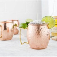 Wholesale 2016 New oz MOSCOW MULE MUG Hammered Copper Plated Stainless Steel Cup Set Mugs