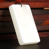afghanistan fashion - Real Natural Hand carved Afghanistan White Jade Peace Pendant Hanging Fashion Necklace Fine Jewelry For Women Men New Free Rope