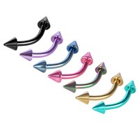 Wholesale Cone Head Eyebrow Piercing Surgical Steel Curved Barbell Brow Spike Bar Helix Piercing G Body Jewelry Color Plated MD004