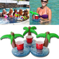 Wholesale x Unique Cute Blue Coconut Shape Floating Palm Island Inflatable Drink Can Holder Party Pool Decor Supplies Kid Toy Gifts