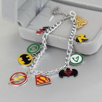 Charm Bracelets South American Unisex DC COMICS CHARM BRACELET BATMAN SUPERMAN WONDER WOMAN FLASH GREEN LANTERN ROBIN Bracelets Cheap lantern ballon