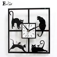 Wholesale Cute cat s design wall Clock decor Black Acrylic clock wall watch for study living room bedroom home wedding decor mute quartz