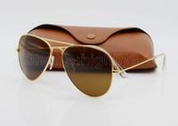 al por mayor gafas de sol de piloto negro-Gafas de sol de piloto de las mujeres para hombre de la alta calidad Marca de fábrica del diseñador Gafas de sol del deporte Metal del oro Brown Negro 58m m 62m m Vidrio de espejo Protección ULTRAVIOLETA de la lente