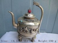 antique chinese teapot - Exquisite ancient Chinese antique white copper dragon statue teapot