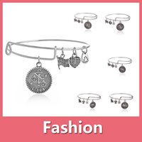 alloy spring steel wire - 2016 Hot Selling Alex and Ani Charm Wiring Bracelet Bracelets Crystal Pendant Expandable Bangles With Opp Bag Shipping Free