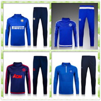 Wholesale 2015 Chelsea Home Marseille tracksuits Man United Top quality long sleeve tracksuit Real Madrid training jackets kits