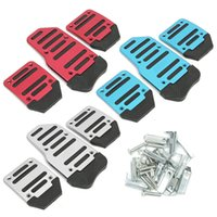 auto clutch - Set Red Blue Silver Aluminium Alloy Car Throttle Brake Clutch Pedal Foot Treadle Cover Auto Vehicle