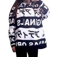 Wholesale Off White Women Hoodies and Sweatshirts Print Japanese Harajuku style Letter Tops Hooded Loose Pullovers Sweatshirt Long sleeve