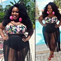 Xl negro tankini España-La venta al por mayor más tamaño 4XL bikinis de las mujeres traje de baño negro de la playa traje de baño atractivo 2017 más traje de baño del tamaño mujeres trajes de baño de la impresión floral