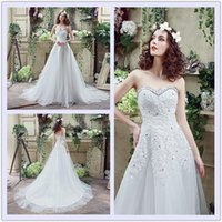 Wholesale The Best Selling Lace Crystal Bridal Gowns A line Beads Applique Tulle Women Wedding Party Pageant Catwalk Big Girls Lady Bride Dress