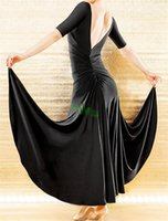 Wholesale Black Sexy backless dress modern dance waltz Tango Foxtrot quickstep costume competition wear evening dress International Dance Skirt