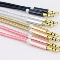 audio jack colors - 3 mm Jack Aux Cable For iPhone Samsung MP3 MP4 Car Audio Cable Wire Colors Copper Nylon Headphone Speaker AUX Cord