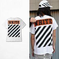 Men Crew Neck 3/4 Sleeve 2017 Cotton Off White Tee Shirt Man Woman Striped Printed Short Sleeve Black White For Sale