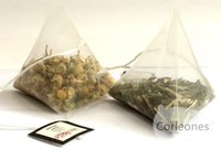 Wholesale 1000 cm Pyramid Tea Bags Filters Nylon TeaBag Single String With Label Empty Tea Bags