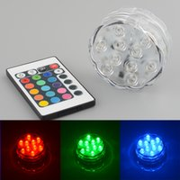 Wholesale 10 LED Multicolor Submersible Waterproof Tea Floralytes Vase Base Light Bright Lamp Blub Remote Hot