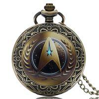 Wholesale Vine Classic Star Trek Theme Bronze Quartz Pocket Watch Antique Fob Watches Men Women Gift With Necklace Chain