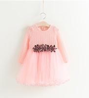 al por mayor boutique de vestidos de fiesta-Las niñas de hadas Flower Gauze Princesa Prom Dresses 2017 Niños Boutique Ropa Little Girls Rib Voile mangas largas Tutu Vestidos