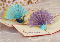 Wholesale Customization of peacocks greeting CARDS DIY Christmas stereo