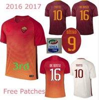 Wholesale AAA TOP quality Rome TOTTI DE ROSSI third Jerseys Rubber Serie A PJANIC DZEKO home away third Romas Jerseys shirts