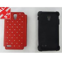 Wholesale Lg Optimus Plastic Cover - Double Layer Kickstand Hard Hybrid Gel Case Cover For T-Mobile LG Optimus L9 P769 DHL FREE SHIP