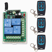 DC 12V 24V 4 CH 4CH RF Sistema de control remoto inalámbrico, 3 X Transmisor impermeable + 1 receptor, 315 / 433MHZ, Momentary Latched