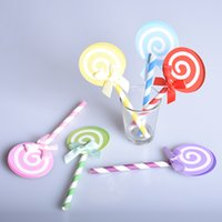 Wholesale 6pcs Colored Cupcake Cake Topper Paper Lollipop With Straw Inserted Card Flags Lovely Gift Decoration For Wedding Birthday Party