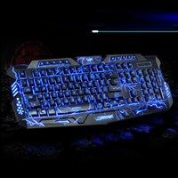 Versión rusa Rojo / Púrpura / Azul Retroiluminación LED Pro Gaming Teclado M200 USB con conexión por cable Powered N-Key completo para LOL Periféricos M02