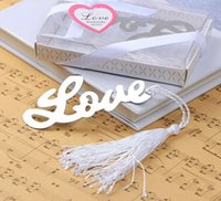 Wholesale 200pcs quot Words of Love quot Silver Finish Bookmark with Elegant White Silk Tassel Wedding favor and gift