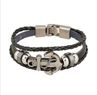 al por mayor encantos de anclaje negro-2017 Nueva pulsera de cuero clásica del encanto de las pulseras de los hombres del estilo el 100% negro / Brown / pulseras tejidas ancla blanca de la aleación