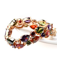 Wholesale ircon bracelet LUOTEEMI Hot Rose Champagne Gold Plated Mona Lisa Multicolor Cubic Zircon Bracelets Bangles Luxury Wedding Bracelet Women