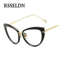 Venta al por mayor- RSSELDN 2017 Moda Nuevas gafas de las mujeres Cuadros Clásicos de marca Designer Gafas de Gafas de Lujo Trendy Lunettes Vintage