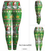 Wholesale New Women s Christmas Leggings Autumn Hot Sell D Printed XMAS Designs Ladys Skinny Leggings New Years Costume Free DHL