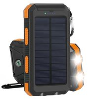 backup battery pack ipad - 10000mAh Solar Panel Charger Dual USB External Battery with LED Flashlight Compass Outdoor Backup Power Pack for iPhone iPad iPod